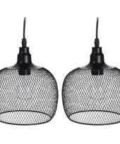 Camping 2x stuks led tuinverlichting hanglamp metaal 18 cm zwart kopen