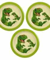 Camping 3x melamine borden dinosaurus wit groen 21 5 cm voor kinderen kopen