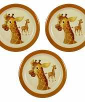 Camping 3x melamine borden giraffe wit bruin 21 5 cm voor kinderen kopen