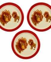 Camping 3x melamine borden leeuw wit rood 21 5 cm voor peuters kinderen kopen