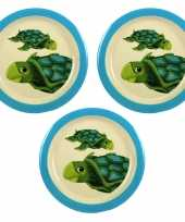 Camping 3x melamine borden schildpad wit blauw 21 5 cm voor kinderen kopen