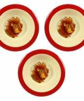 Camping 3x melamine kommen leeuw wit rood 16 5 cm voor kinderen kopen