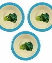 Camping 3x melamine kommen schildpad wit blauw 16 5 cm voor kinderen kopen