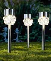 Camping 3x solarlamp crystal op zonne energie 5 cm transparant glas met rvs steker kopen