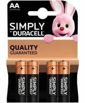 Camping 4x duracell aa simply batterijen alkaline lr6 mn1500 1 5 v kopen