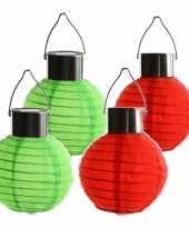 Camping 4x stuks gekleurde buiten tuin party solar lampionnen van 10 cm kopen 10272781