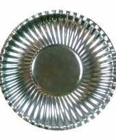 Camping 50x platte kartonnen bordjes metallic zilver 23 cm kopen