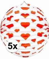 Camping 5x ronde rood witte bollampion met hartjes kopen