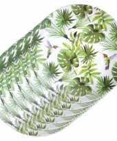 Camping 6x melamine borden tropische print wit 25 cm kopen