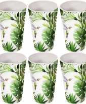 Camping 8x melamine bekers tropische print wit 13 cm kopen
