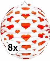 Camping 8x ronde rood witte bollampion met hartjes kopen