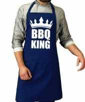 Camping bbq king barbeque schort keukenschort kobalt blauw voor heren kopen
