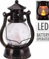 Camping bronzen lantaarn decoratie 12 cm vlam led licht op batterijen kopen