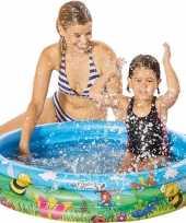 Camping buitenspeelgoed zwembaden blauw bloemen rond 100 x 23 cm voor jongens meisjes kinderen kopen