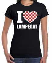 Camping carnaval i love lampegat t-shirt zwart voor dames kopen