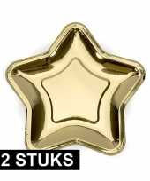 Camping gouden kartonnen borden 12 stuks kopen