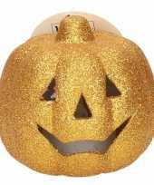 Camping gouden pompoen met glitters en led verlichting 9 cm kopen