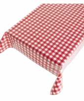 Camping kerstsfeer tafellaken met rode ruitjes 140 x 240 cm kopen