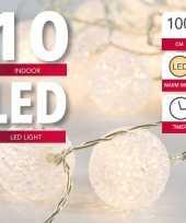 Camping lichtsnoer met 10 witte bolletjes warm wit op batterij met timer 135 cm kopen