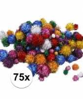 Camping multi kleur decoratieve pompons met glitters 15 40 mm kopen