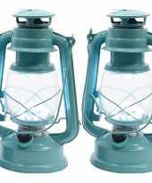 Camping set van 2 draagbare mintgroene lamp lantaarn 25 cm met led lampjes verlichting kopen