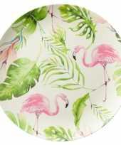 Camping set van 4 melamine ontbijtborden flamingo 25 cm kopen