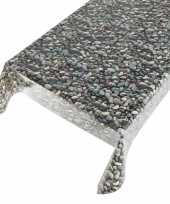 Camping talfelzeil grijs blauw met stenen motief 140 x 240 cm kopen