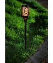 Camping voordeelset van 20x stuks tuinlamp solar fakkel tuinverlichting met vlam effect 48 5 cm kopen
