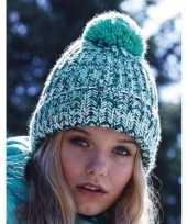 Camping winter muts met pompon voor volwassenen turquoise kopen