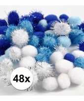 Camping wit blauwe decoratieve pompons 15 20 mm kopen