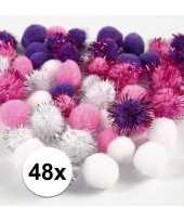 Camping wit paarse decoratieve pompons 15 20 mm kopen