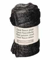 Camping zwart fleece plaid dekentje zilveren glitters 150 x 200 cm kopen