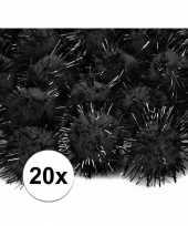 Camping zwarte decoratie pompons 20 mm kopen